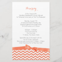 Modern Zig Zag Coral and Grey Itinerary