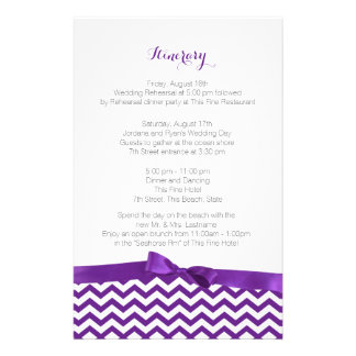 Modern Zig Zag Purple and Grey Itinerary Stationery