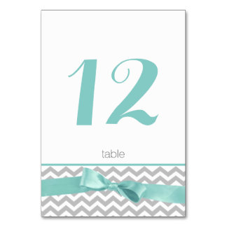 Modern Zigzag and Aqua Bow Table Number Card