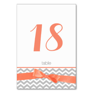 Modern Zigzag and Coral Bow Table Number Card