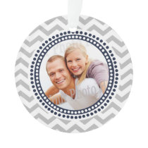 Modern Zigzag and Dots Navy Blue Photo Ornament