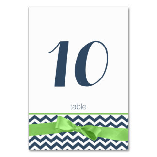 Modern Zigzag and Lime Bow Table Number Card