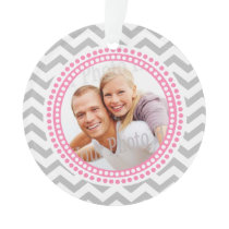 Modern Zigzag and Pink Dots Photo Ornament