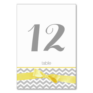 Modern Zigzag and Yellow Bow Table Number Card