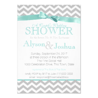 Modern Zigzag Aqua Wedding Shower Card