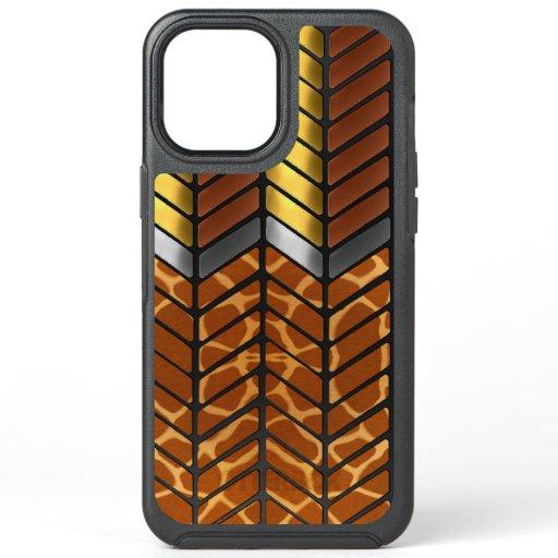 Modern Zigzag Chevron Giraffe Animal Print OtterBox Symmetry iPhone 12 Pro Max Case