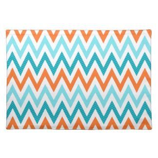 Modern ZigZag Chevron Orange Aqua Blue Pattern Cloth Placemat