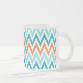 Modern ZigZag Chevron Orange Aqua Blue Pattern Frosted Glass Coffee Mug