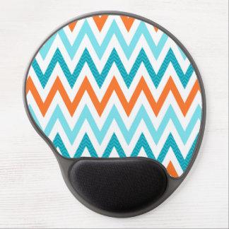 Modern ZigZag Chevron Orange Aqua Blue Pattern Gel Mouse Pad