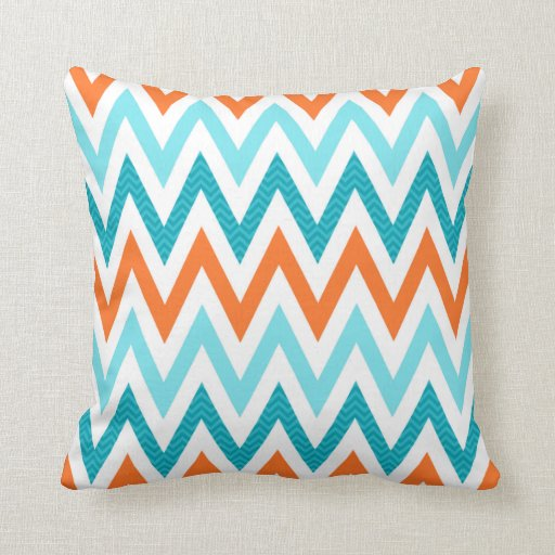 Modern ZigZag Chevron Orange Aqua Blue Pattern Throw Pillows