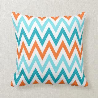 Modern Zigzag Chevron Orange Aqua Blue Pattern Throw Pillow at Zazzle
