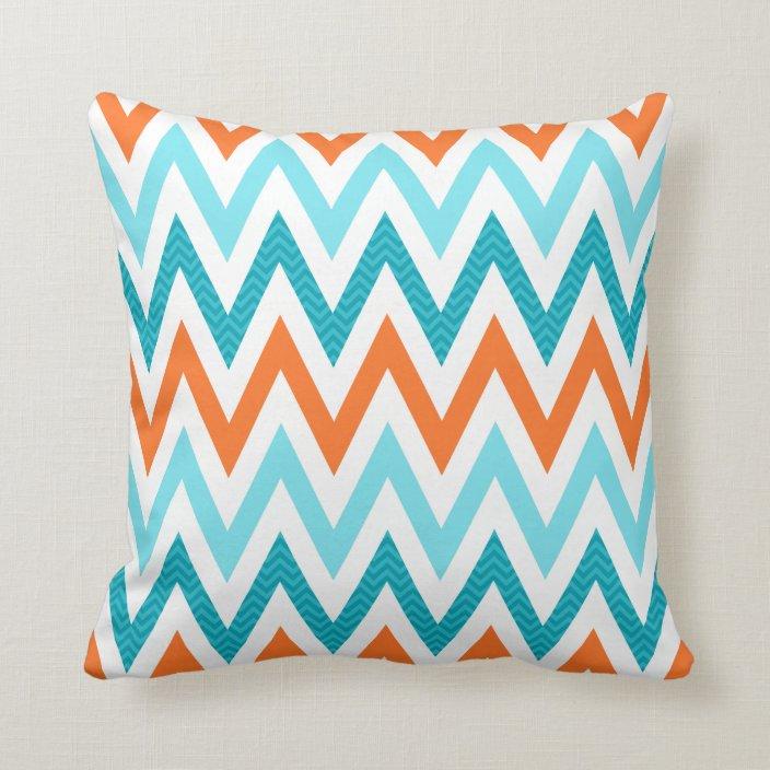 Modern Zigzag Chevron Orange Aqua Blue Pattern Throw Pillow Zazzle Com