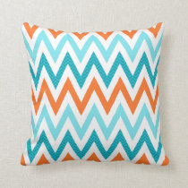 Modern ZigZag Chevron Orange Aqua Blue Pattern Throw Pillow