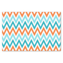 Modern ZigZag Chevron Orange Aqua Blue Pattern Tissue Paper