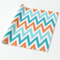 Modern ZigZag Chevron Orange Aqua Blue Pattern Wrapping Paper
