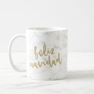 Moderna Feliz Navidad Blanco y Oro Coffee Mug