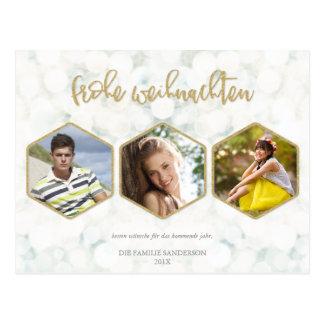 Moderne Weiß und Gold Frohe Weihnachten Foto Postcard