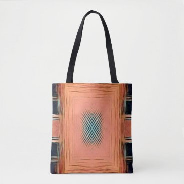 Beach Themed Modernism Shades Of Peach Teal Symmetrical Pattern Tote Bag