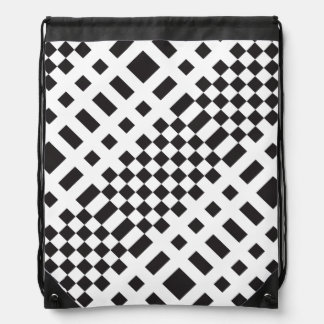 Modernist Black and White Checks Drawstring Backpack