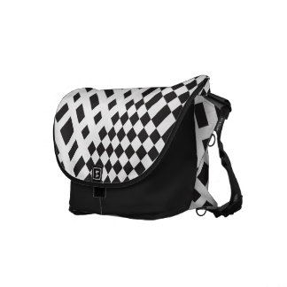 Modernist Black and White Checks Messenger Bag
