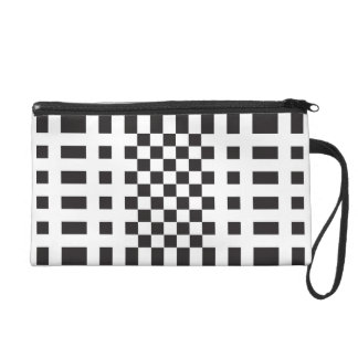 Modernist Black and White Checks Wristlet