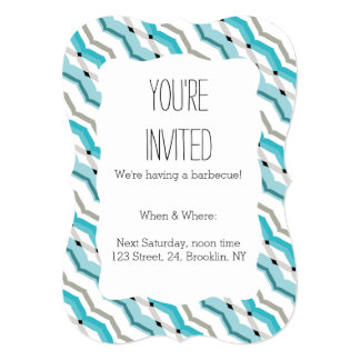 Modernist Chevron in Turquoise Blue Card
