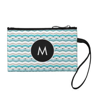 Modernist Chevron in Turquoise Blue Coin Purse