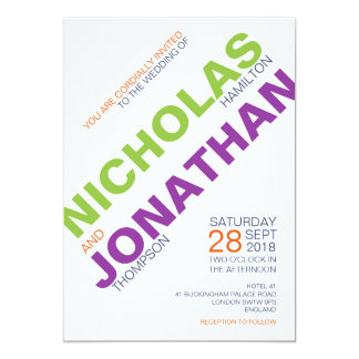 Modernist | Typography Gay Wedding Invitations