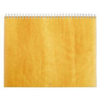 Moderno amarillo de la acuarela pintado apenado calendario de pared