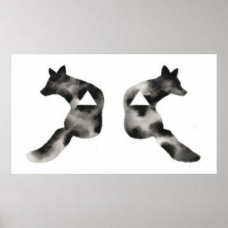 Moderno blanco de la mancha de tinta del Fox del n Póster