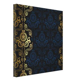 moderno, damascos, florales, oro, remolino, impresión en lona estirada