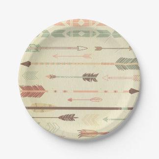 Moderno de moda de la flecha del vintage nativo plato de papel de 7 pulgadas