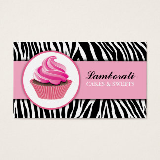 Moderno elegante del rosa del estampado de zebra tarjetas de visita
