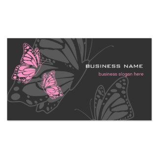 Moderno elegante rosado y oscuro de la mariposa tarjetas de visita