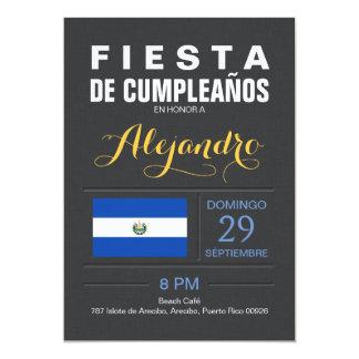"""Moderno: Fiesta de El Salvador Invitación 5"""" X 7"""""""