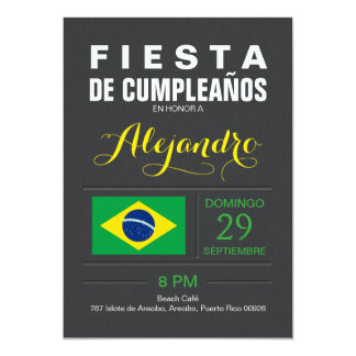 "Moderno: Fiesta del Brasil Invitación 5"" X 7"""