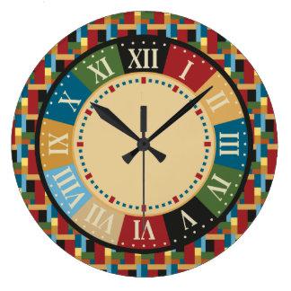 Moderno geométrico colorido del sitio de juego reloj redondo grande