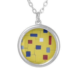 moderno geométrico del arte del amarillo original  colgante redondo