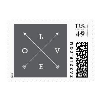 Moderno gris de la tipografía de las flechas de la timbre postal