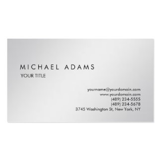 Moderno profesional simple gris llano elegante tarjetas de visita