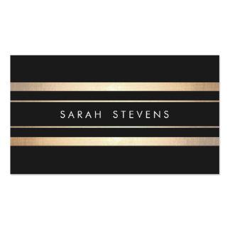 Moderno rayado elegante del oro negro y falso de tarjetas de visita