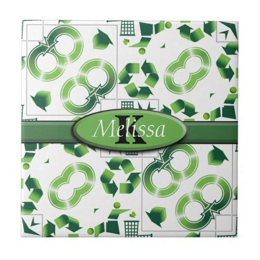 Moderno vaya verde y recicle el monograma del azulejo cuadrado pequeño