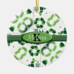 Moderno vaya verde y recicle el monograma del coll ornamente de reyes