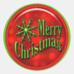 Moderno verde rojo de las Felices Navidad Etiquetas Redondas