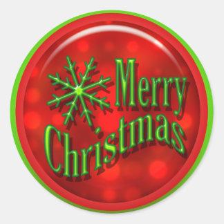 Moderno verde rojo de las Felices Navidad Pegatina Redonda