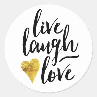 Moderno viven los pegatinas del amor de la risa pegatina redonda
