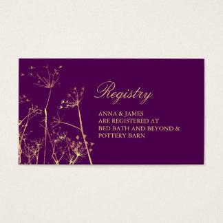 Moderno, Wildflowers del oro que casan la tarjeta Tarjetas De Visita