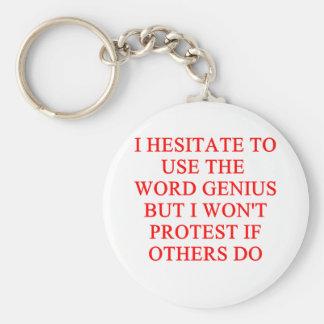 modest genius joke basic round button keychain