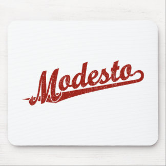 Modesto script logo in red distressed mouse pad