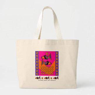Modfish en rosa con el bolso de la etiqueta bolsas de mano